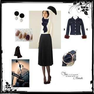 黒×プリーツスカートを使ったマカロンさんのコーデ