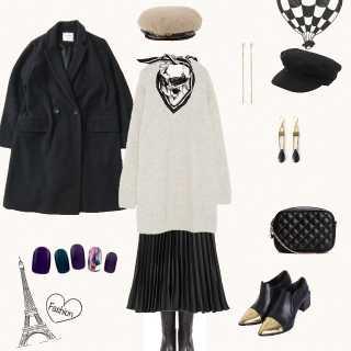 黒×プリーツスカートを使ったズボラなフナさんのコーデ