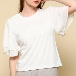 袖フリルガーリー白Tシャツ