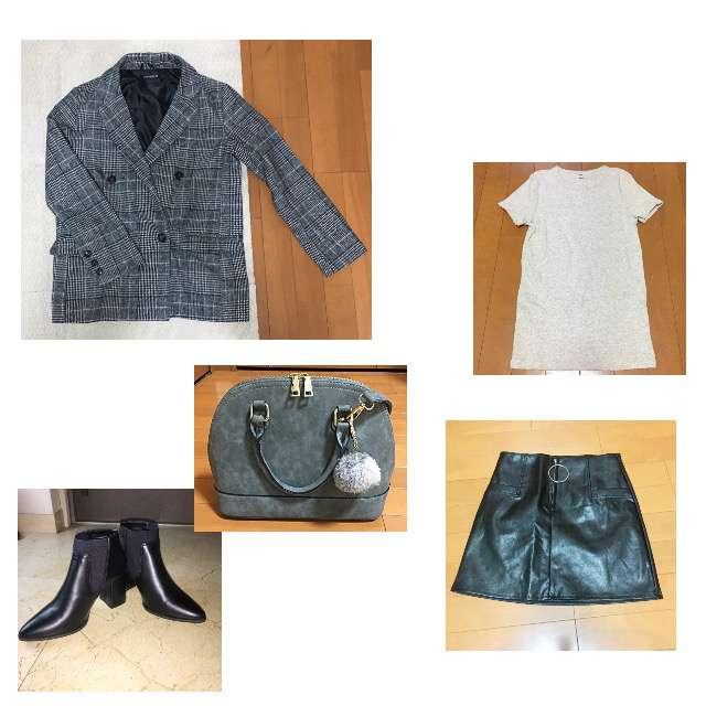 UNIQLOのTシャツ/カットソー、SPIGAのミニスカート等を使ったコーデ画像
