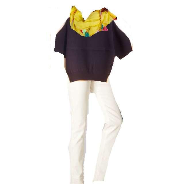 ニット/セーター、デニムパンツ等を使ったコーデ画像