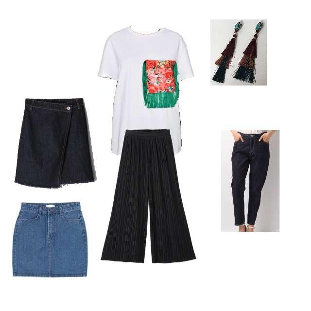 ZARAのTシャツ/カットソー、Heatherのデニムパンツ等を使ったコーデ画像