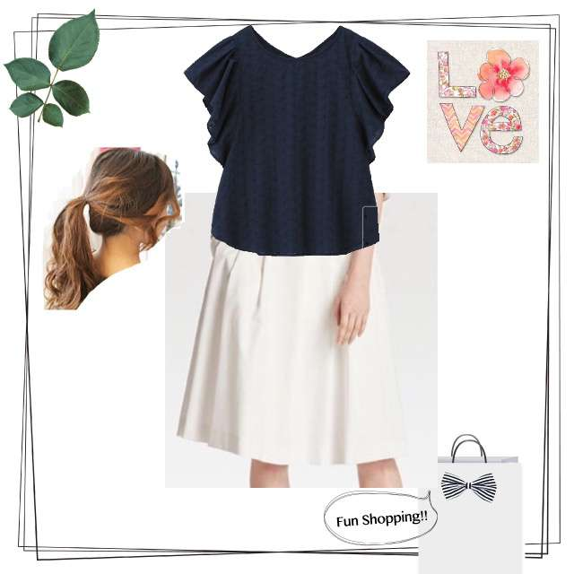 GUのシャツ/ブラウス、UNIQLOのスカート等を使ったコーデ画像