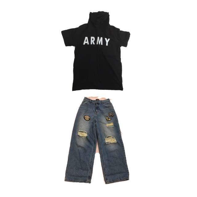 「ボーイッシュ・マニッシュ、塾」に関するSPINNSのTシャツ/カットソー、RETRO GIRLのワイドパンツ等を使ったコーデ画像
