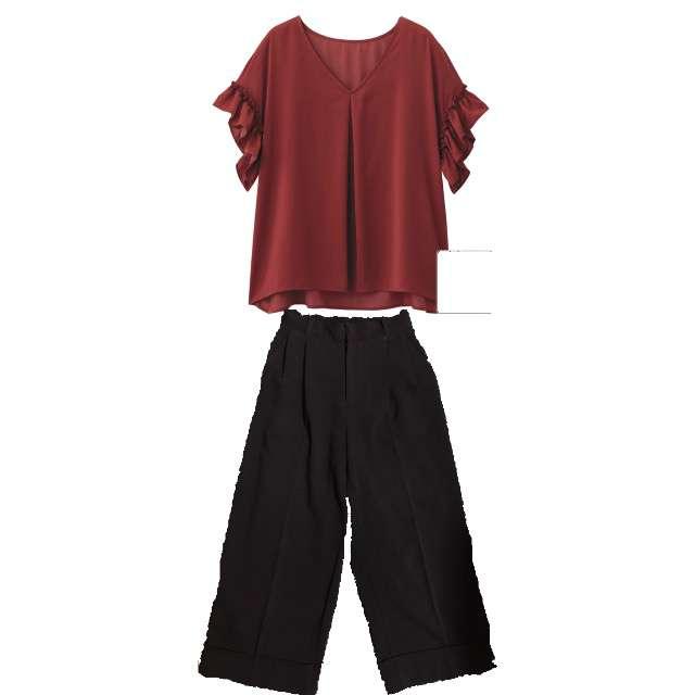 GUのシャツ/ブラウス、ワイドパンツ等を使ったコーデ画像