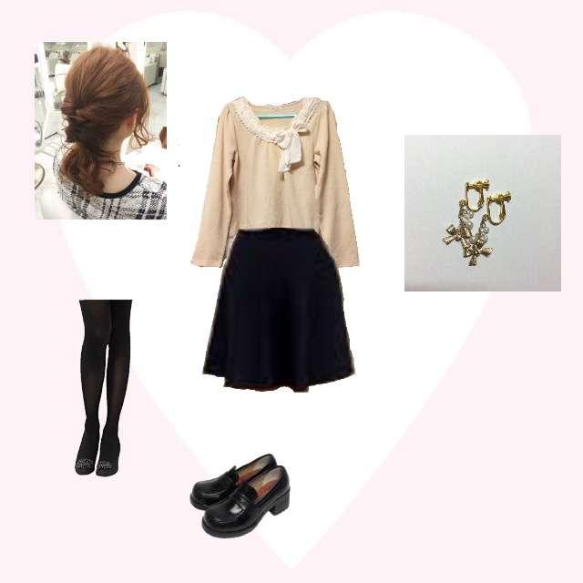 「シンプル、秋」に関するaxes femmeのTシャツ/カットソー、ひざ丈スカート等を使ったコーデ画像