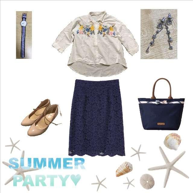 CocoPressのシャツ/ブラウス、PROPORTION BODY DRESSINGのひざ丈スカート等を使ったコーデ画像