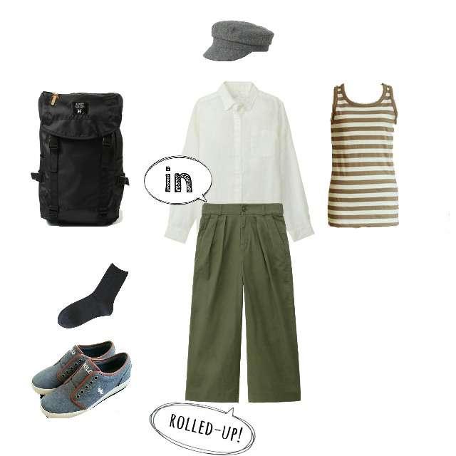 MUJI(無印良品)のシャツ/ブラウス、キャミソール/タンクトップ等を使ったコーデ画像
