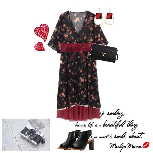 「おでかけ、クール、赤、黒、サンダル」に関するINGNIのカーディガン、KBFのチュールスカート等を使ったコーデ画像