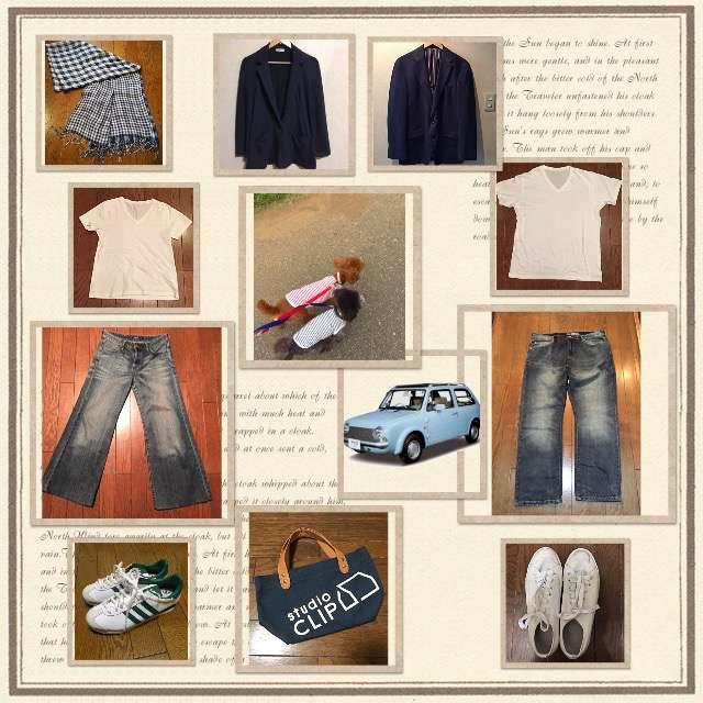 「シンプル、おでかけ、休日、ちょっとそこまで、デニムコーデ、ネイビージャケット、紺ブレ、アラフィフ」に関するGUのTシャツ/カットソー、UNIQLOのTシャツ/カットソー等を使ったコーデ画像