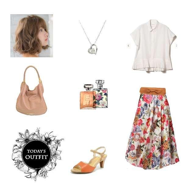 「ガーリー・フェミニン、デート、借り物コーデ、ブラウス、花柄スカート、サンダル」に関するBEAMSのシャツ/ブラウス、r.p.sのマキシ丈スカート等を使ったコーデ画像