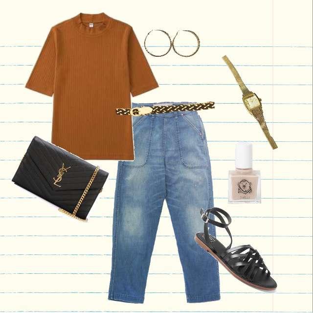 UNIQLOのTシャツ/カットソー、GRANDMA MAMA DAUGHTERのデニムパンツ等を使ったコーデ画像