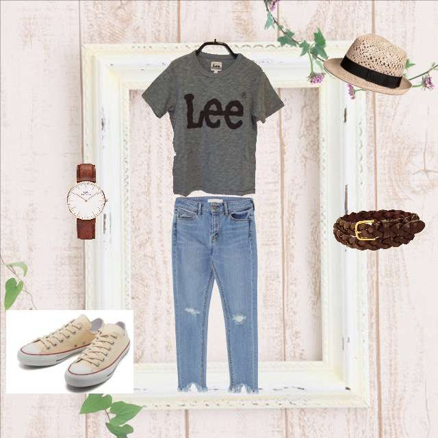「ナチュラル・リラックス、休日」に関するLeeのTシャツ/カットソー、MERCURYDUOのデニム等を使ったコーデ画像