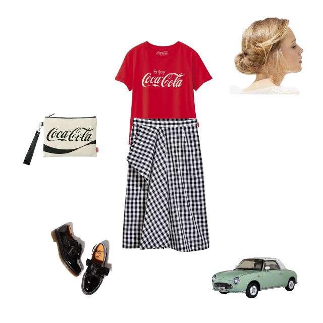 GUのTシャツ/カットソー、H&Mのスカート等を使ったコーデ画像