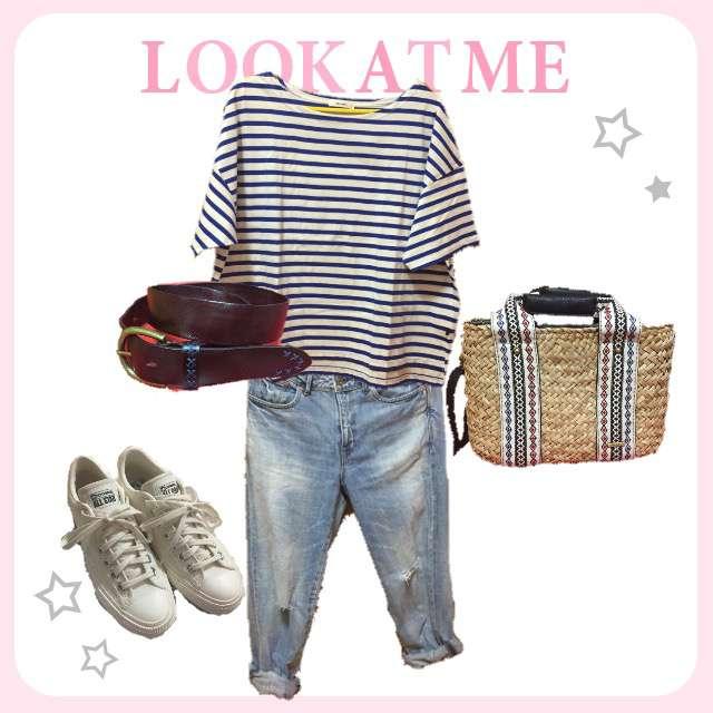 nico and...のTシャツ/カットソー、Cepo!のデニムパンツ等を使ったコーデ画像
