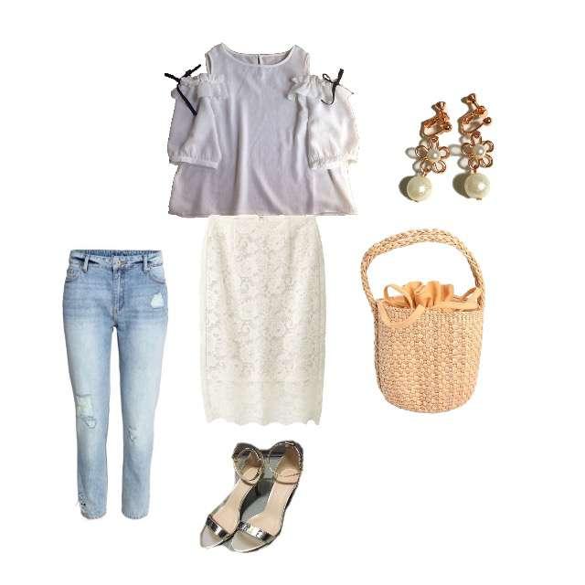 「ガーリー・フェミニン、デート」に関するAvailのTシャツ/カットソー、H&Mのスキニーパンツ等を使ったコーデ画像