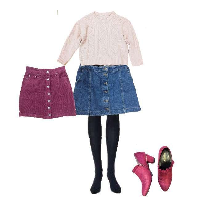 HONEYSのニット/セーター、しまむらのタイトスカート等を使ったコーデ画像