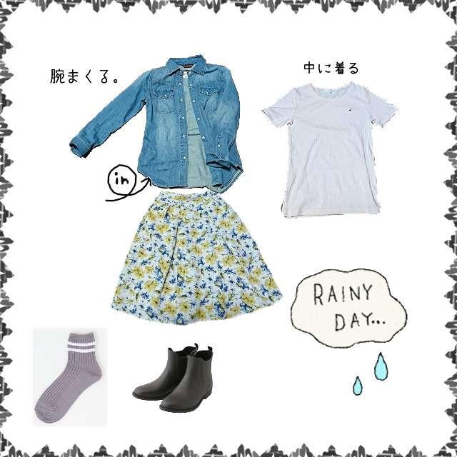 「スポーティ・スポーツMIX、雨の日」に関するシャツ/ブラウス、ICBのTシャツ/カットソー等を使ったコーデ画像