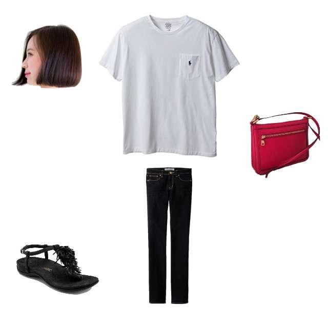 「シンプル」に関するRALPH LAURENのTシャツ/カットソー、GUのスキニーパンツ等を使ったコーデ画像