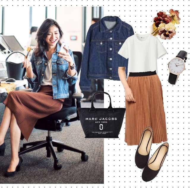 UNIQLOのTシャツ/カットソー、LOWRYS FARMのミモレ丈スカート等を使ったコーデ画像
