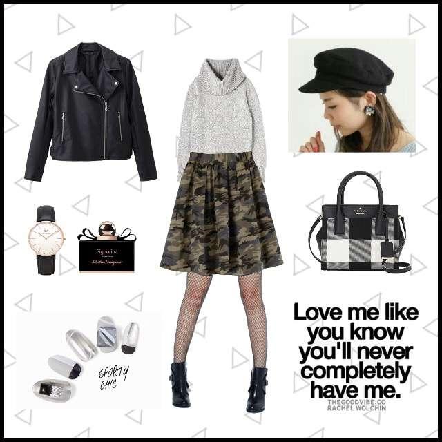 「ボーイッシュ・マニッシュ、おでかけ」に関するPROPORTION BODY DRESSINGのニット/セーター、titivateのひざ丈スカート等を使ったコーデ画像