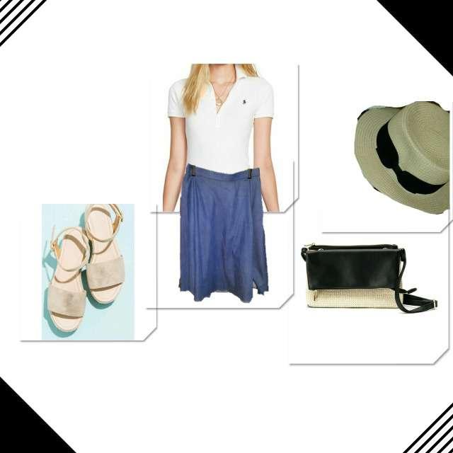 POLO RALPH LAURENのポロシャツ、ZARAのフレアスカート等を使ったコーデ画像