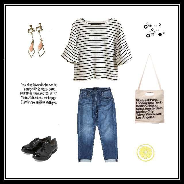 「シンプル、女子会、ボーダー、デニム、エナメル」に関するLOWRYS FARMのTシャツ/カットソー、UNIQLOのデニムパンツ等を使ったコーデ画像