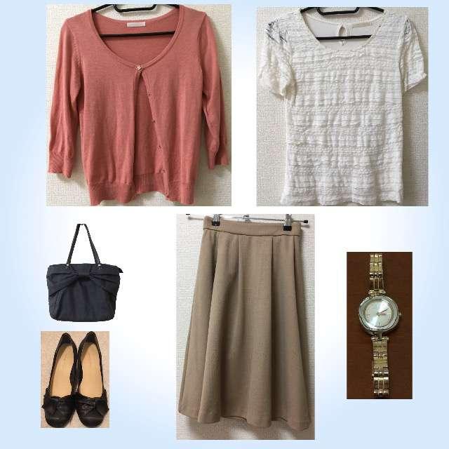 「シンプル、オフィス」に関するPATTERNのTシャツ/カットソー、PATTERNのカーディガン等を使ったコーデ画像