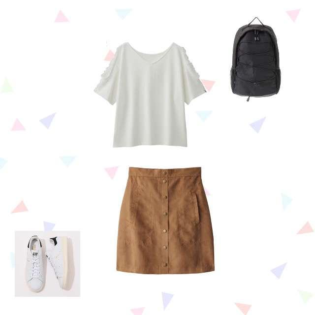 GUのTシャツ/カットソー、GRLのタイトスカート等を使ったコーデ画像