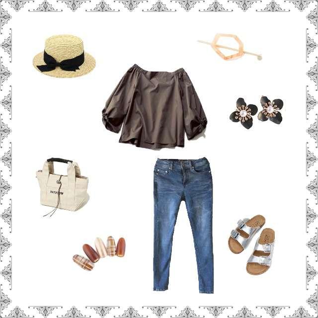 「シンプル、お散歩、トートバッグ、オフショルダー、デニム」に関するシャツ/ブラウス、しまむらのスキニーパンツ等を使ったコーデ画像