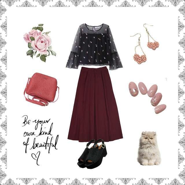 「ガーリー・フェミニン」に関するGRLのシャツ/ブラウス、merlotのマキシ丈スカート等を使ったコーデ画像
