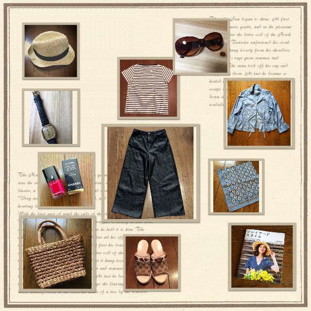 「カジュアル、シンプル、ショッピング、麦わら帽子、旦那さんパンツにはソレイアードバイアステープを◡̈⃝︎⋆︎*」に関するUNIQLOのTシャツ/カットソー、HONEYSのデニムパンツ等を使ったコーデ画像