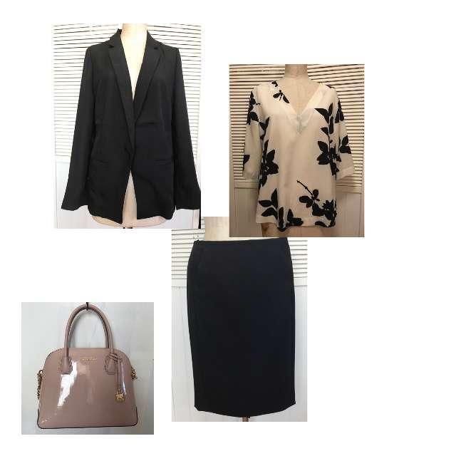 DKNYのシャツ/ブラウス、CALVIN KLEINのタイトスカート等を使ったコーデ画像