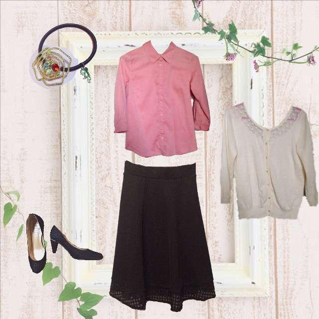 「セミフォーマル、オフィス」に関するシャツ/ブラウス、RETRO GIRLのカーディガン等を使ったコーデ画像