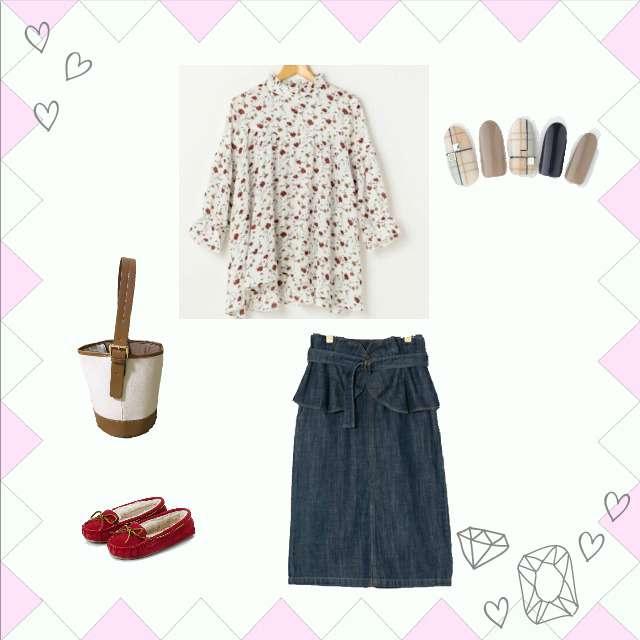 「カジュアル、お散歩、ショッピング、お茶」に関するRay Cassinのシャツ/ブラウス、w closetのミモレ丈スカート等を使ったコーデ画像