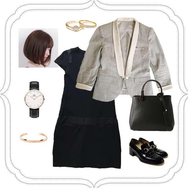 「ボーイッシュ・マニッシュ、オフィス」に関するtheoryのミニワンピ、DOUBLE STANDARD CLOTHINGのジャケット等を使ったコーデ画像