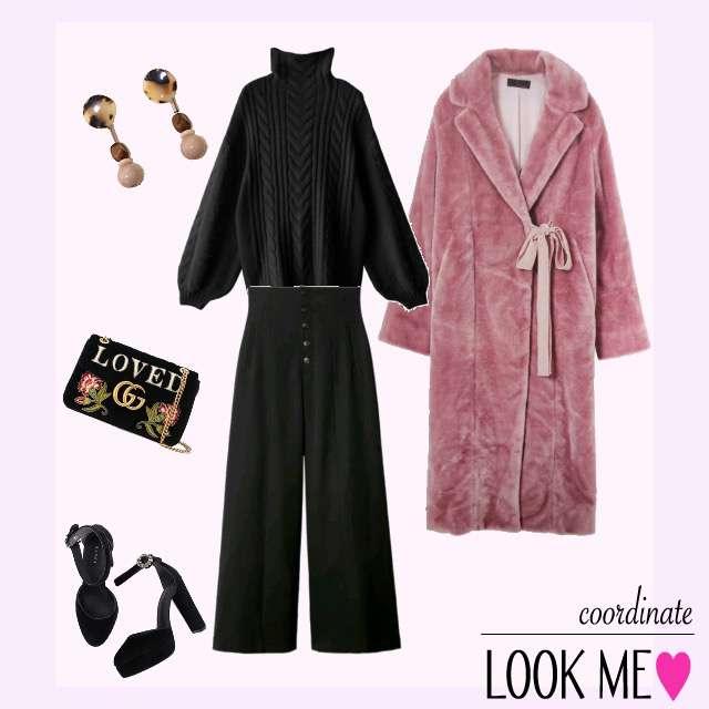 「セレブリティ、おでかけ、ピンク、個性的」に関するニット/セーター、ワイドパンツ等を使ったコーデ画像