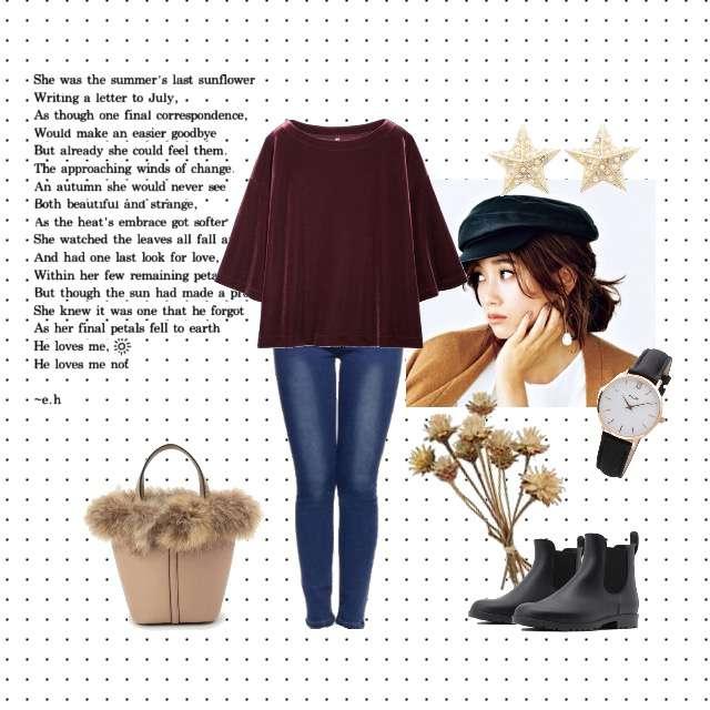 「シンプル、おでかけ、ママコーデ」に関するUNIQLOのTシャツ/カットソー、神戸レタスのスキニーパンツ等を使ったコーデ画像
