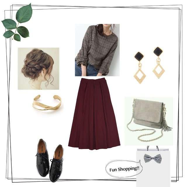 merlotのマキシ丈スカート、dholicのローファー等を使ったコーデ画像