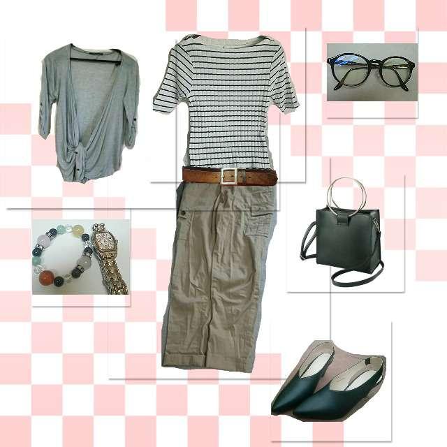 「シンプル、通勤、チノパン」に関するGUのTシャツ/カットソー、ONE WAYのカーディガン等を使ったコーデ画像