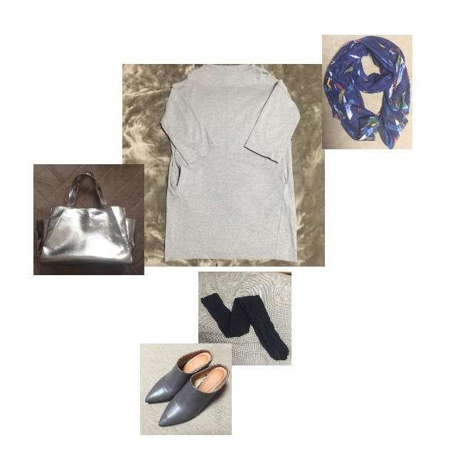 ENFOLDのひざ丈ワンピ、GUのドレスシューズ/ミュール等を使ったコーデ画像