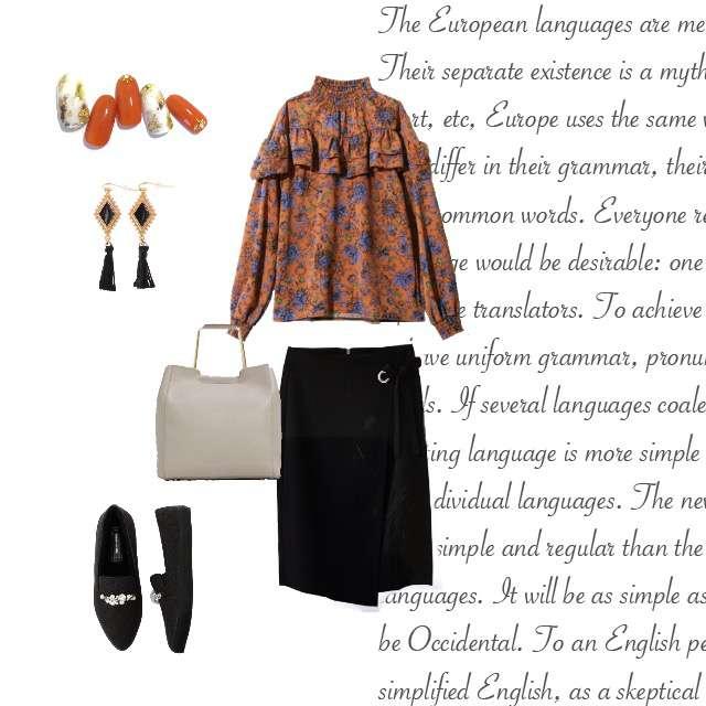 「休日、秋、花柄、タイトスカート、オレンジ」に関するGRLのシャツ/ブラウス、GUのタイトスカート等を使ったコーデ画像