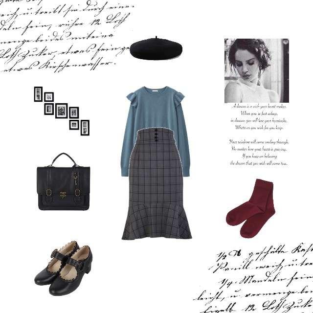 「ガーリー・フェミニン、おでかけ、秋、冬」に関するGUのニット/セーター、F i.n.tのタイトスカート等を使ったコーデ画像