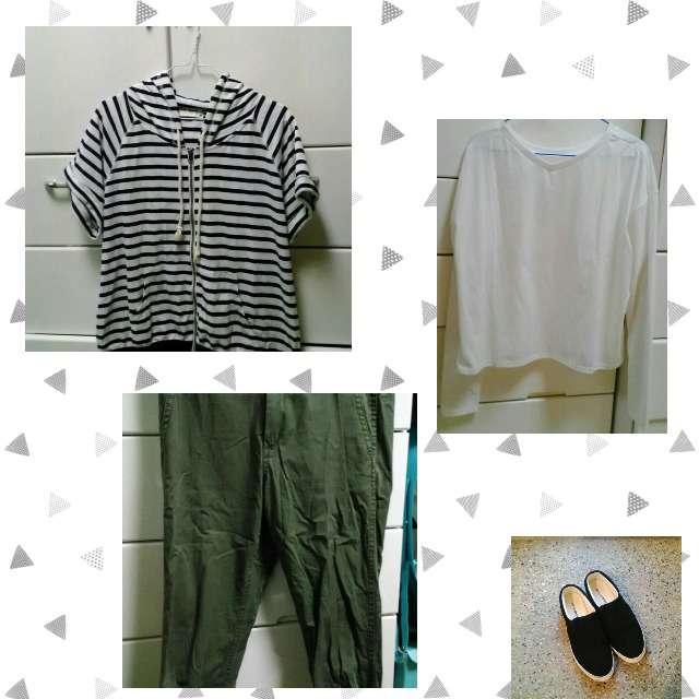 しまむらのパーカー/スウェット、RETRO GIRLのTシャツ/カットソー等を使ったコーデ画像