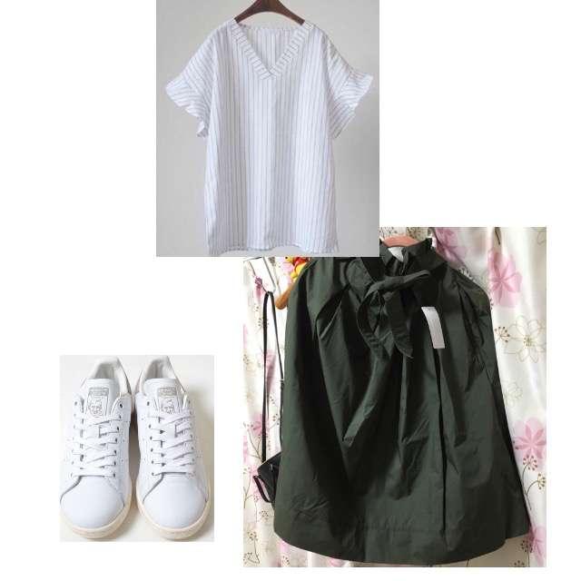 Netstarのシャツ/ブラウス、UNIQLOのひざ丈スカート等を使ったコーデ画像