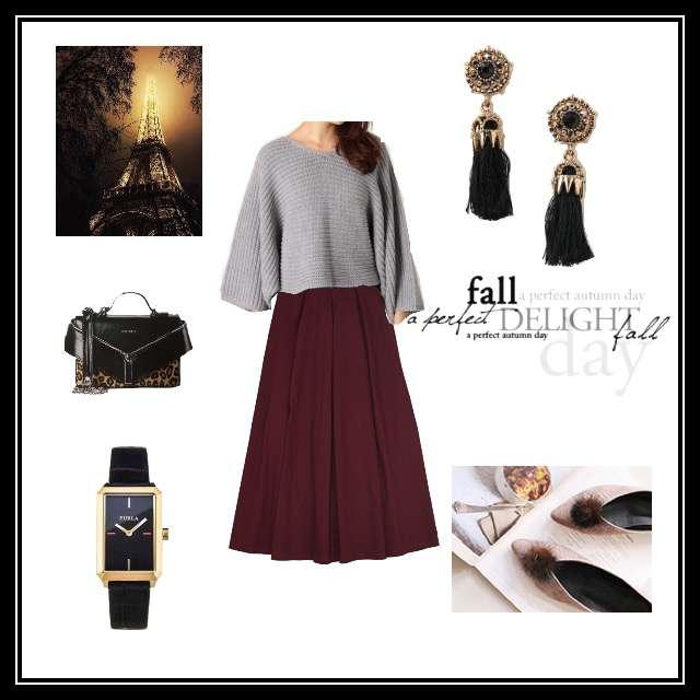 「シンプル、ディナー、フレアスカート、タッセル」に関するKastaneのニット/セーター、merlotのマキシ丈スカート等を使ったコーデ画像