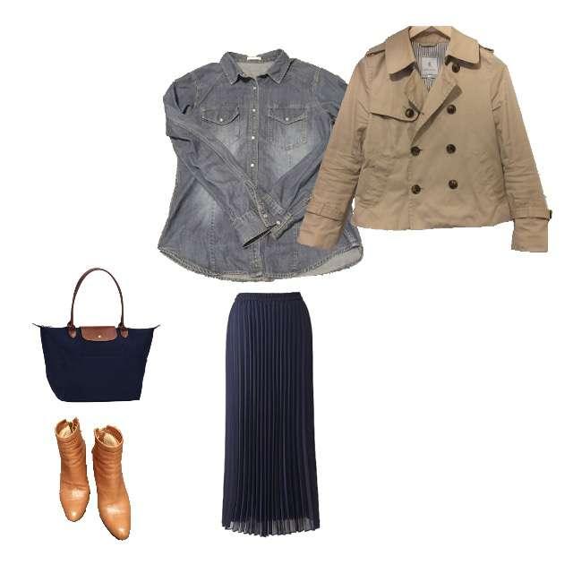 「1枚で着れる」に関するGUのシャツ/ブラウス、UNIQLOのプリーツスカート等を使ったコーデ画像