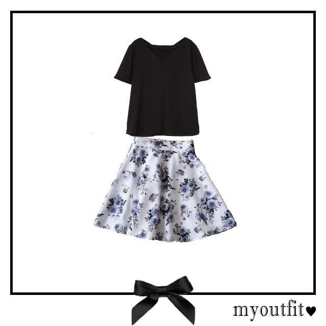 NATURAL BEAUTY BASICのシャツ/ブラウス、INGNIのミニスカート等を使ったコーデ画像