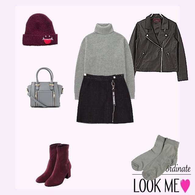 「ストリート、おでかけ、デートやお買い物に」に関するUNIQLOのニット/セーター、Bershkaのミニスカート等を使ったコーデ画像