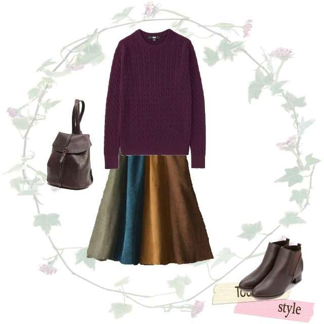 「カジュアル、おでかけ」に関するUNIQLOのニット/セーター、soulberryのミモレ丈スカート等を使ったコーデ画像